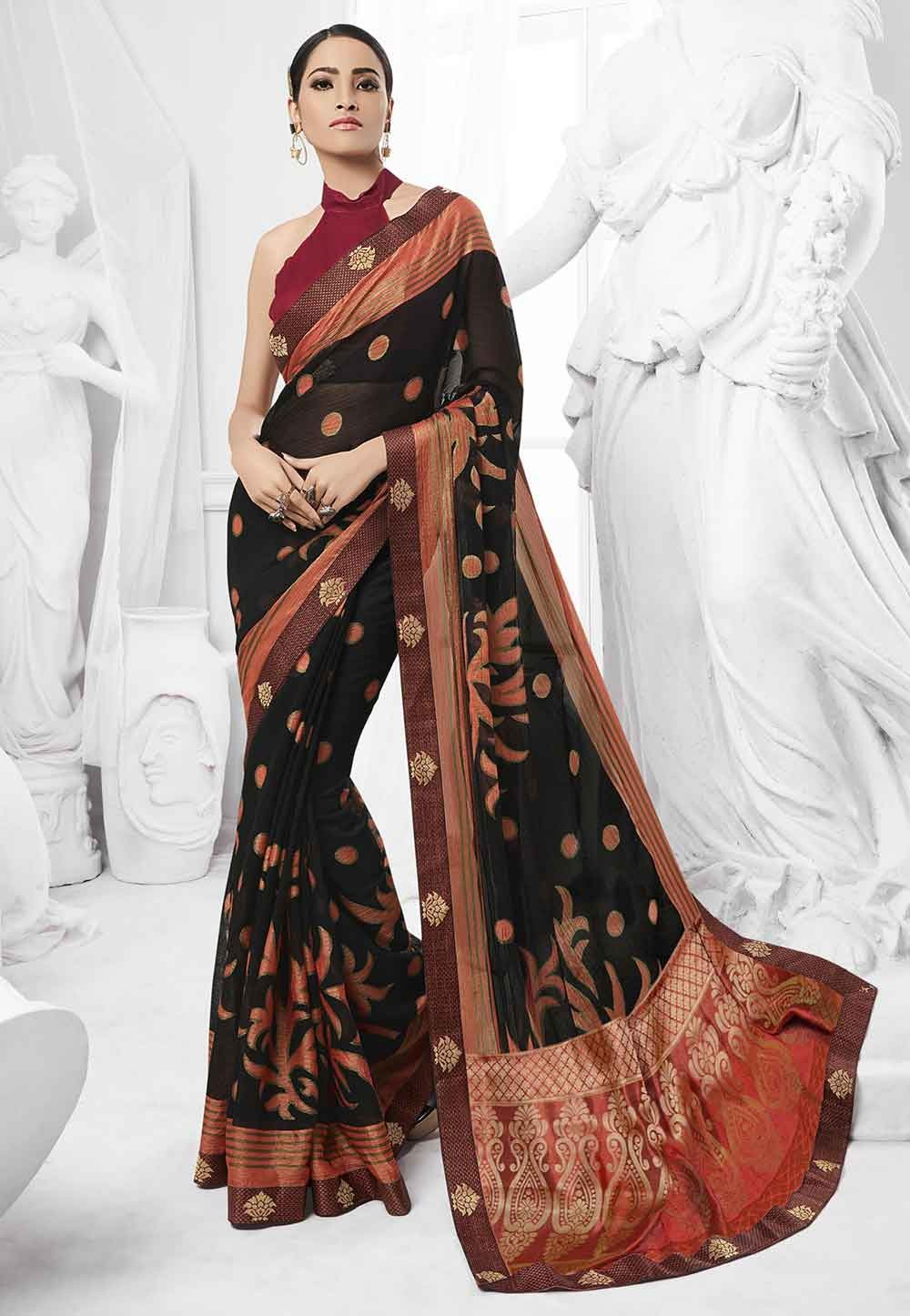Black Colour Saree.