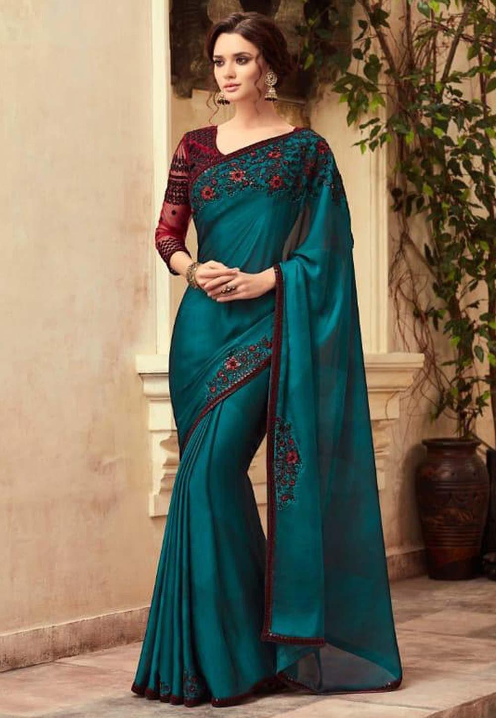 Blue Colour Designer Saree.