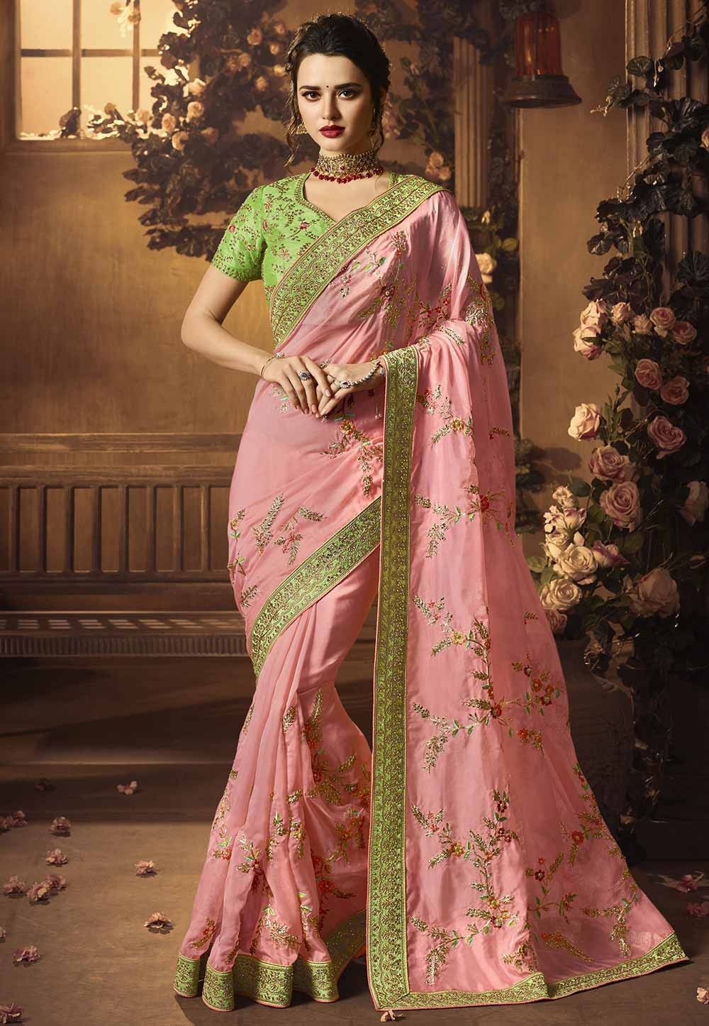 Pink Colour Silk Designer sarees online shopping