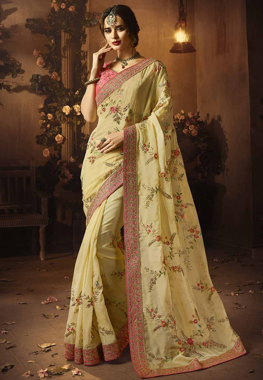 Cream Colour Designer sarees online shopping