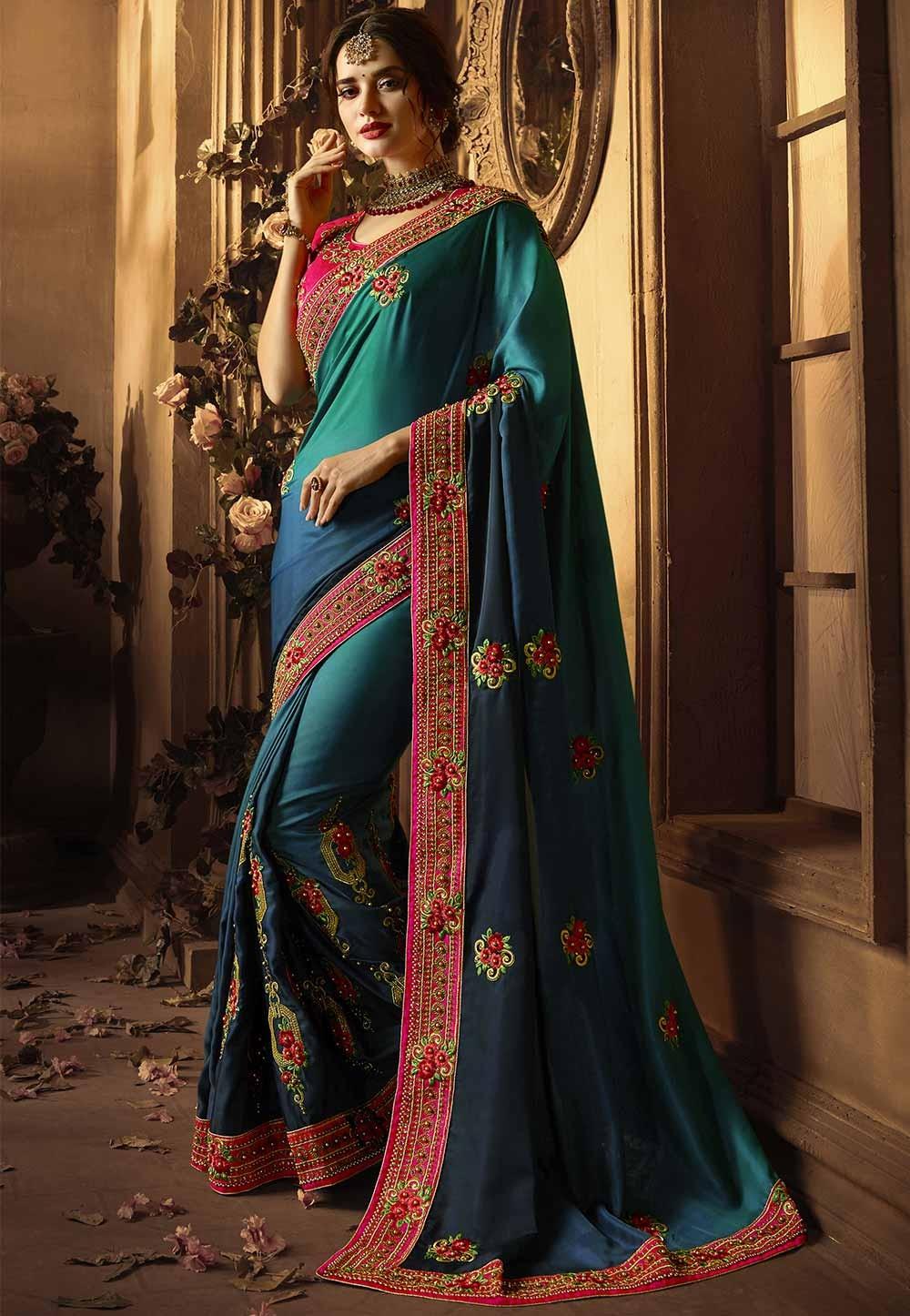 Silk Saree: Blue Colour Party Wear Designer sarees online shopping