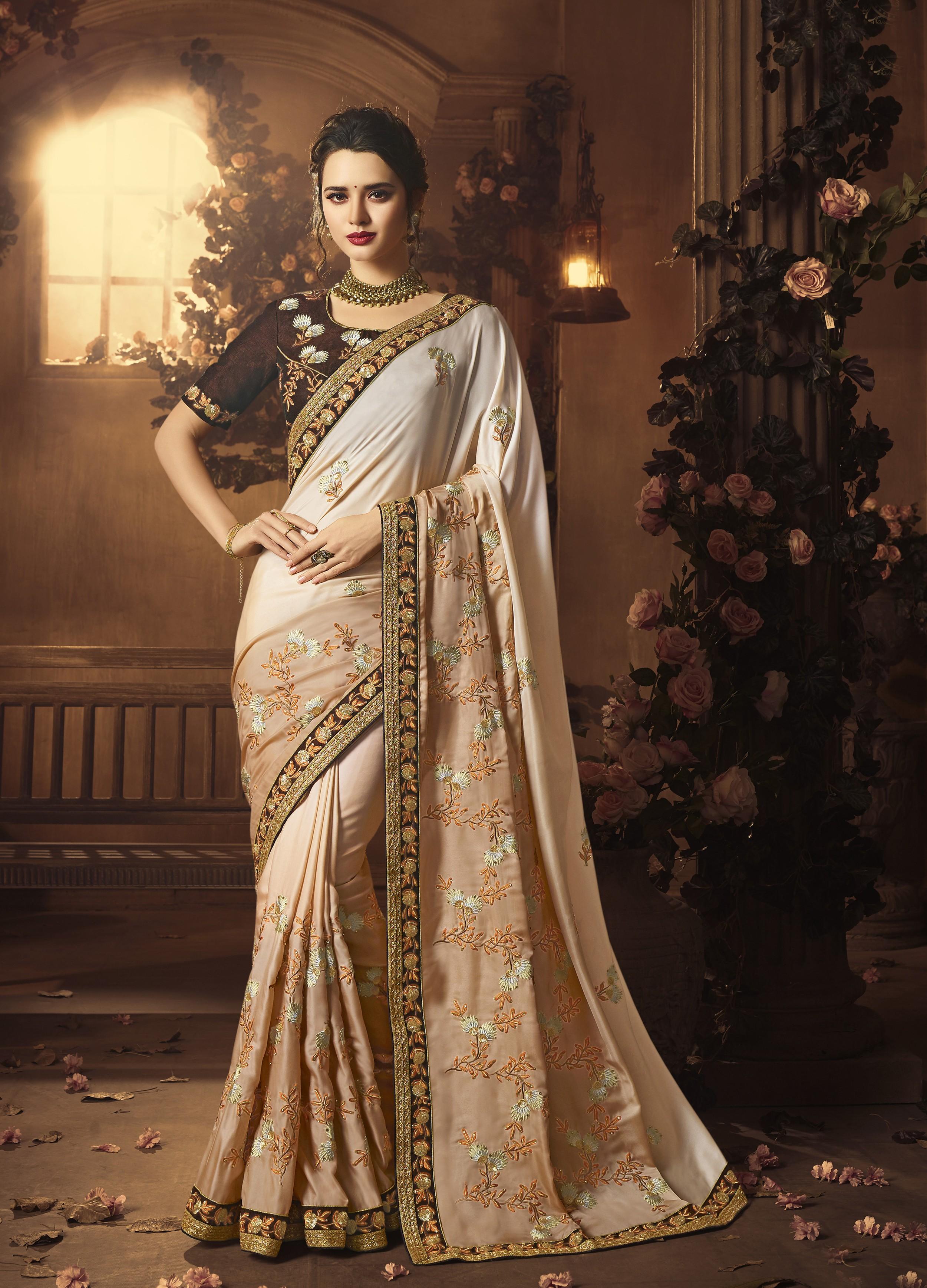 Buy Designer Sarees Online India with Cream Colour