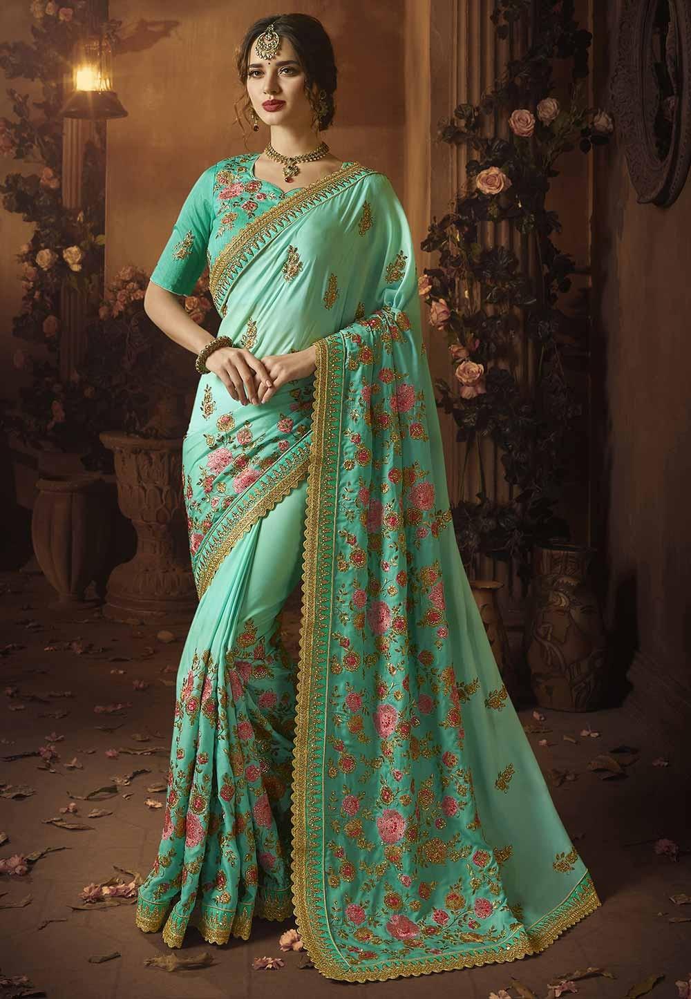 Silk Saree : Buy Designer Sarees Online with  Green Colour