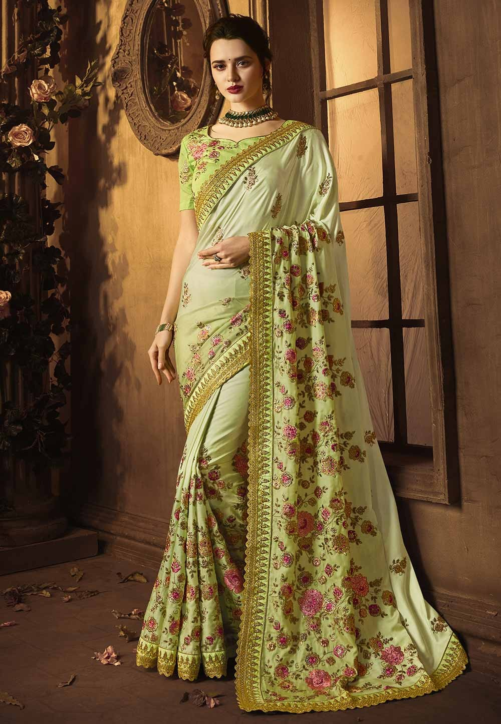 Buy Designer Sarees Online with Green Colour