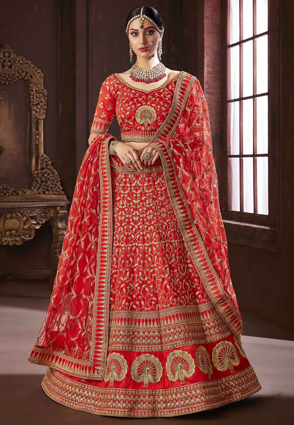 Buy Red Colour lehenga online India