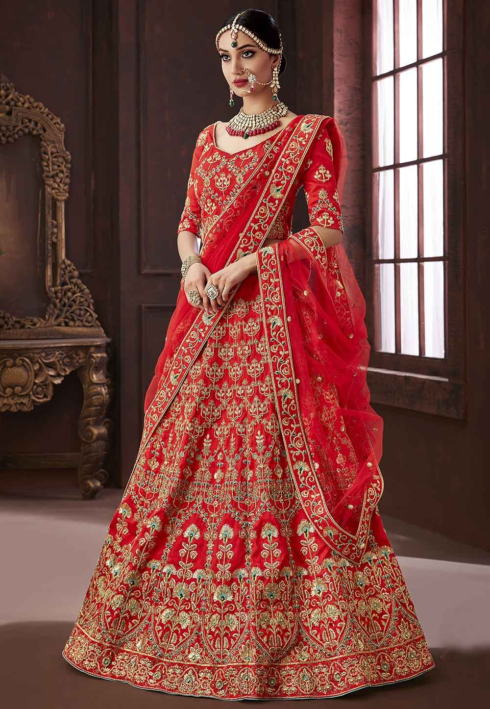 Red Colour Lehenga choli online shopping India