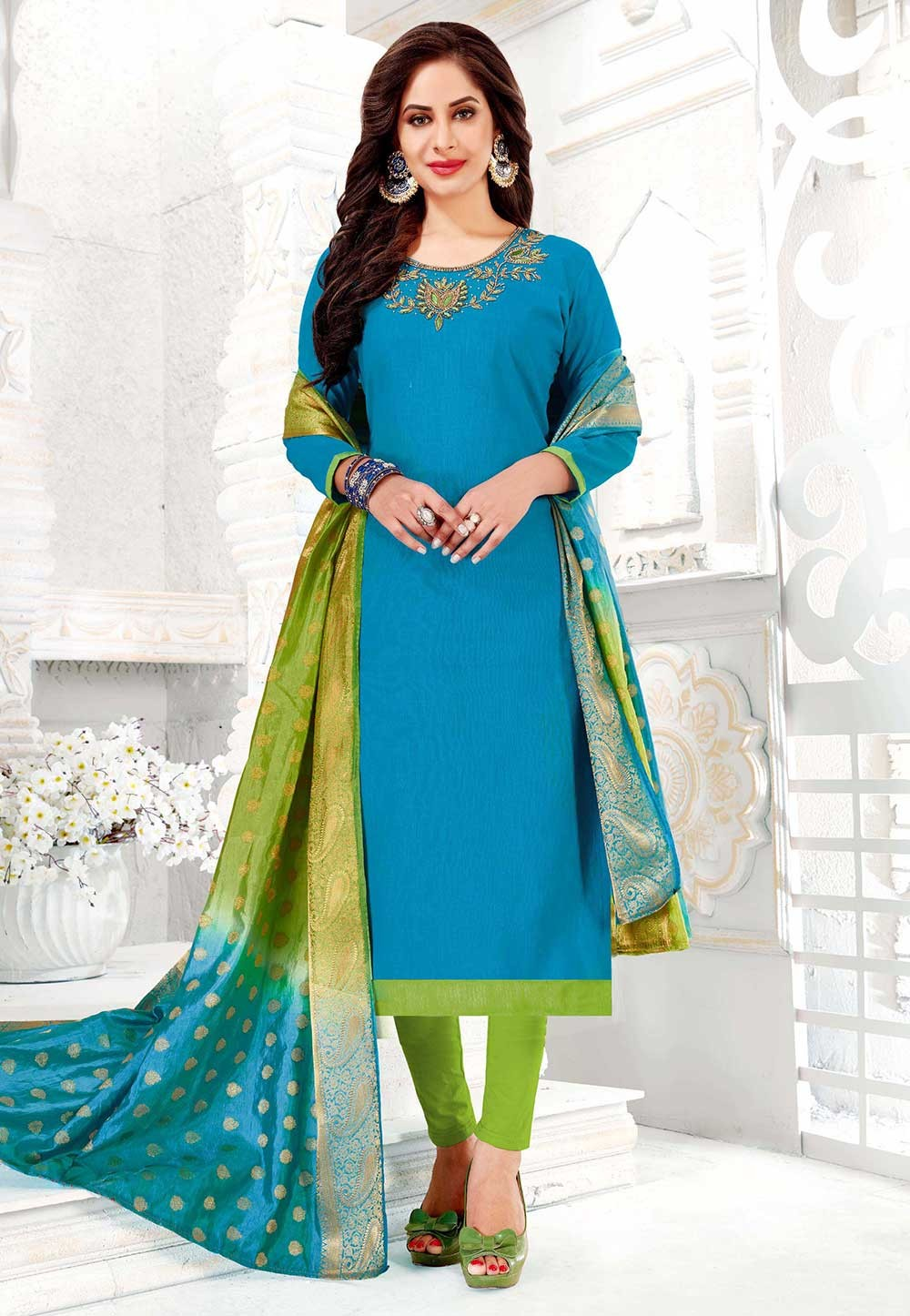 Blue Colour Salwar Kameez.