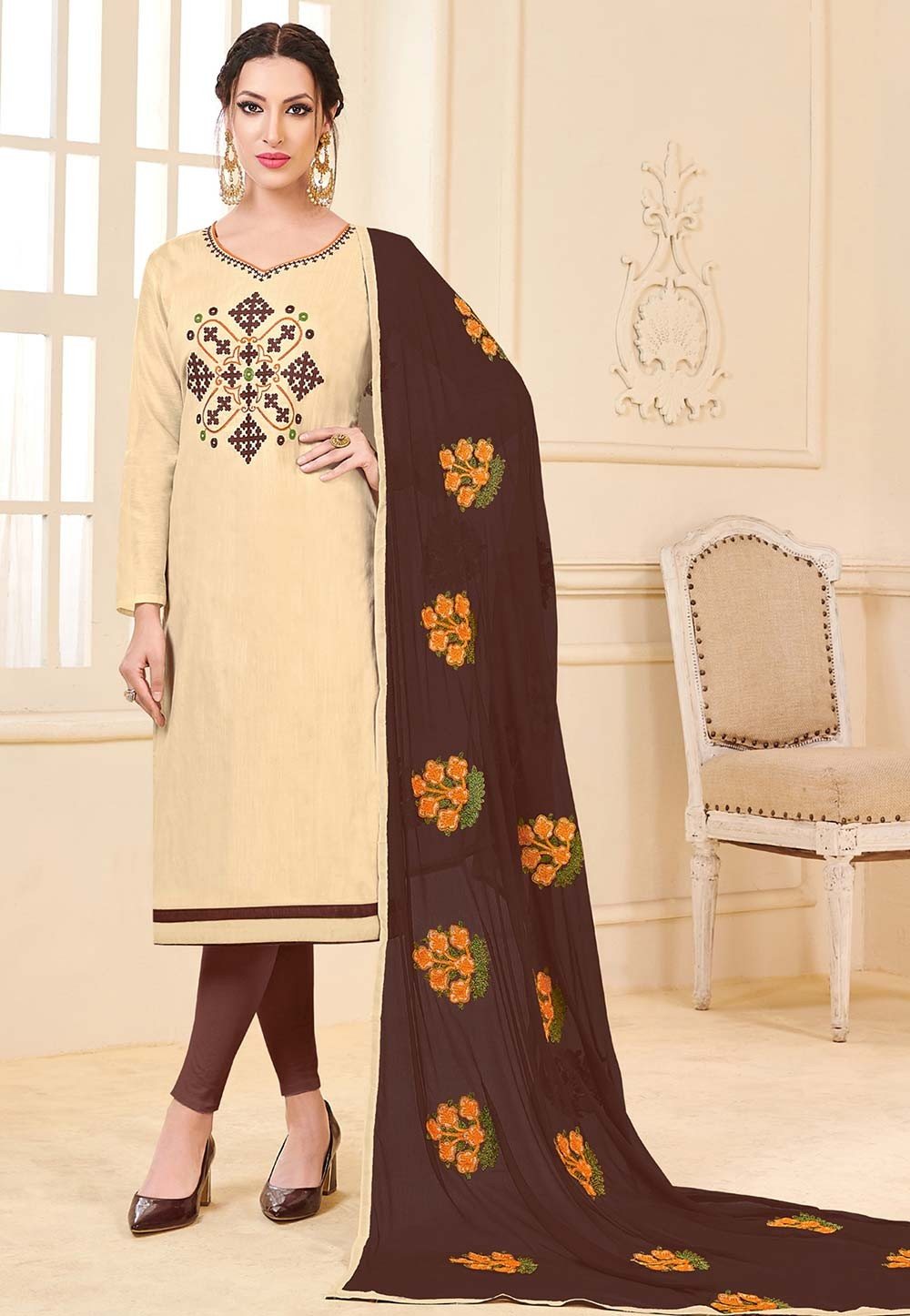 Beige Colour Banglori Silk Salwar Suit,