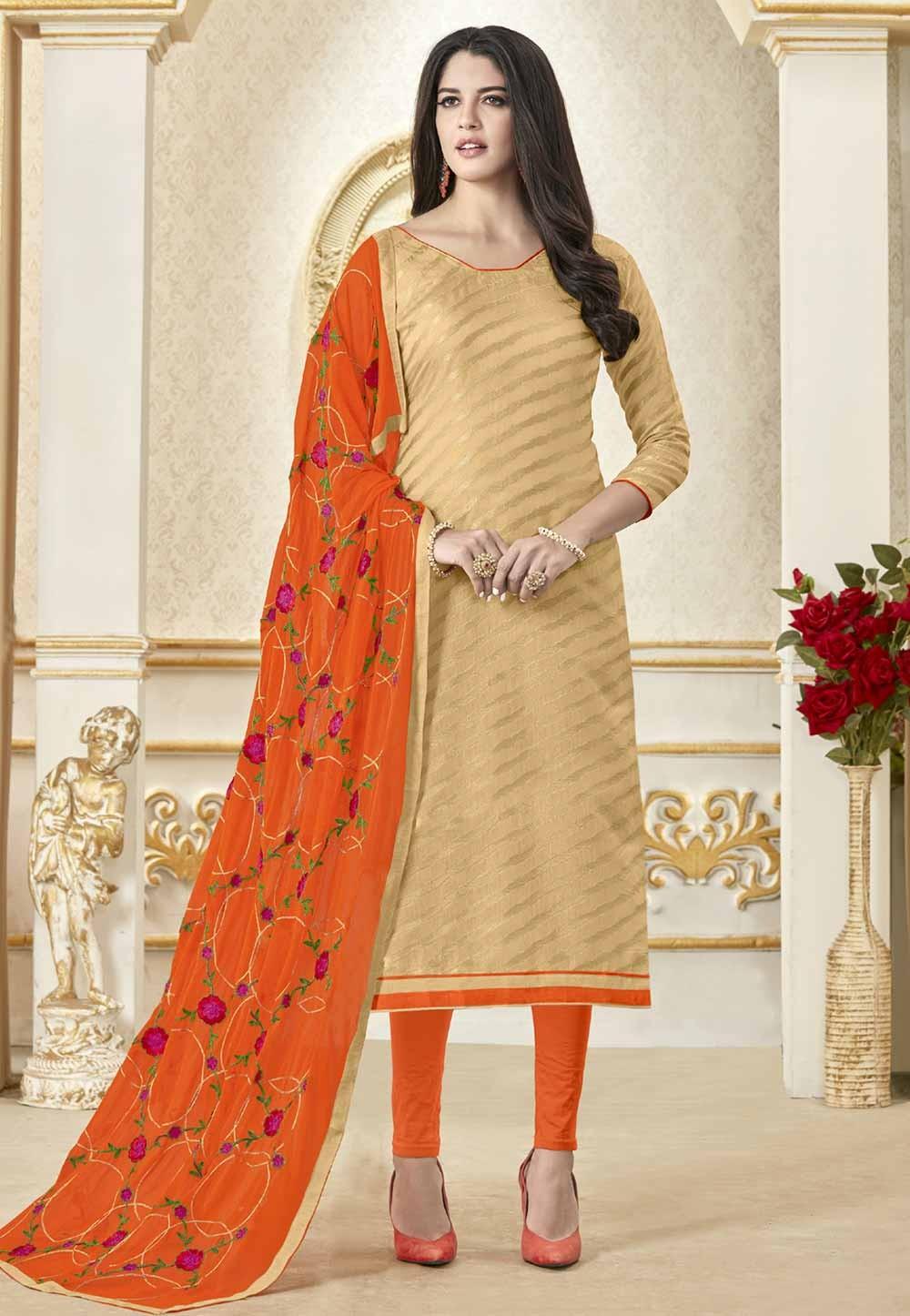 Buy Beige Colour Salwar kameez online shopping