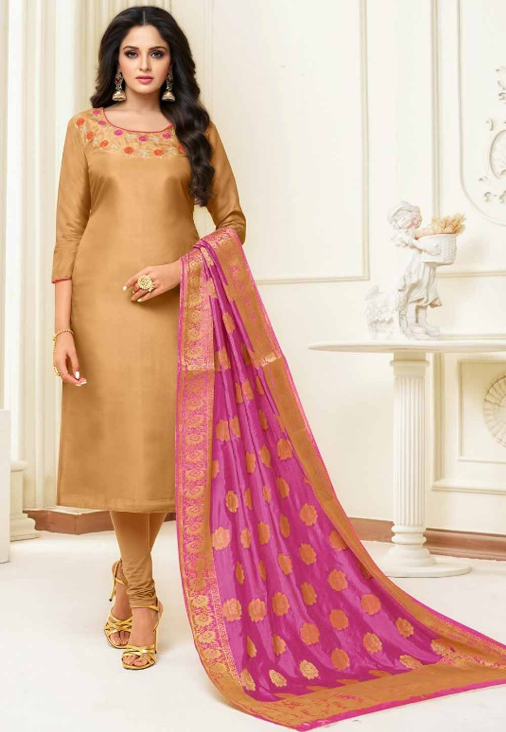 Beige Colour Casual Salwar Suit.
