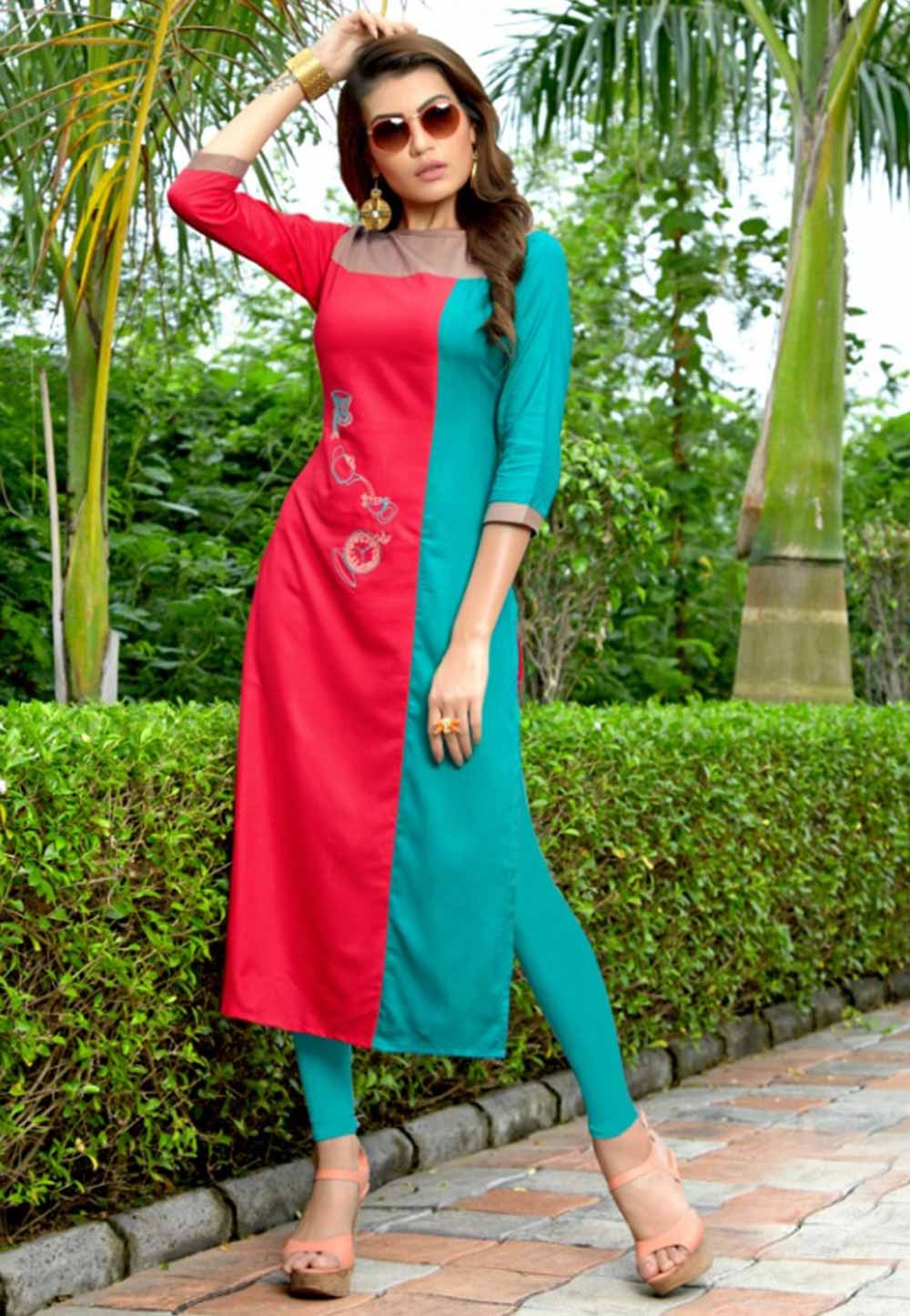 Pink,Turquoise Colour Heavy embroidered kurtis online