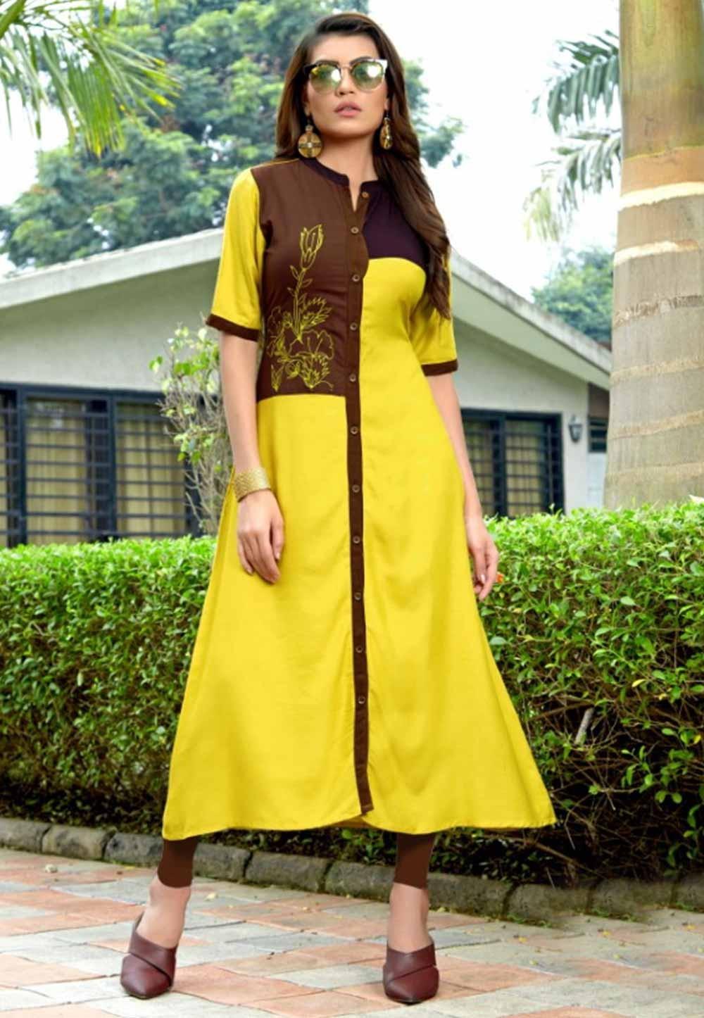 Get Yellow Colour Cotton Indian kurti tops online