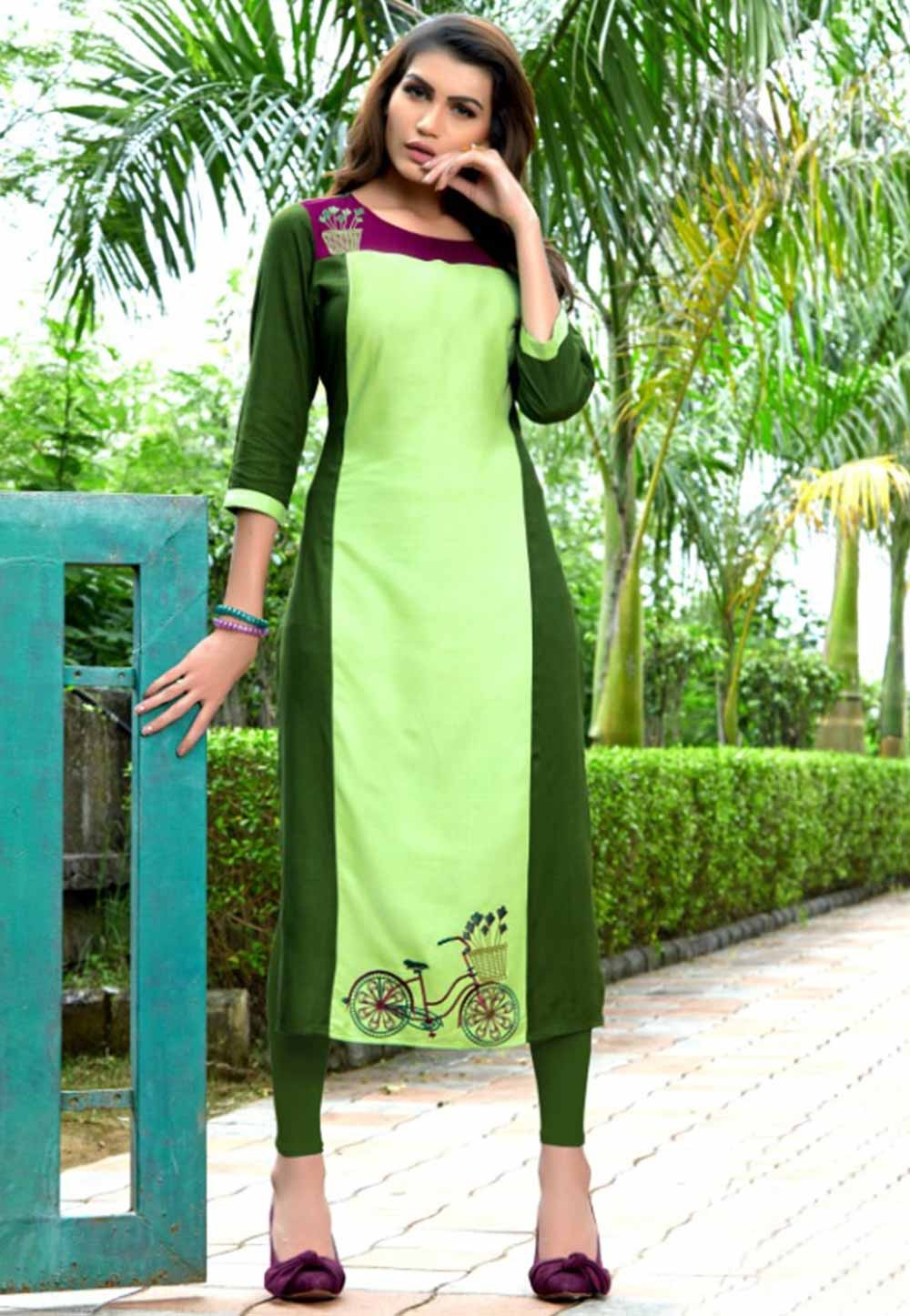 Exclusive green colour Indian kurti tops online