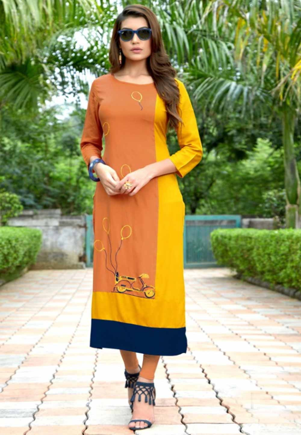 Orange,Yellow Colour Heavy embroidered kurtis online