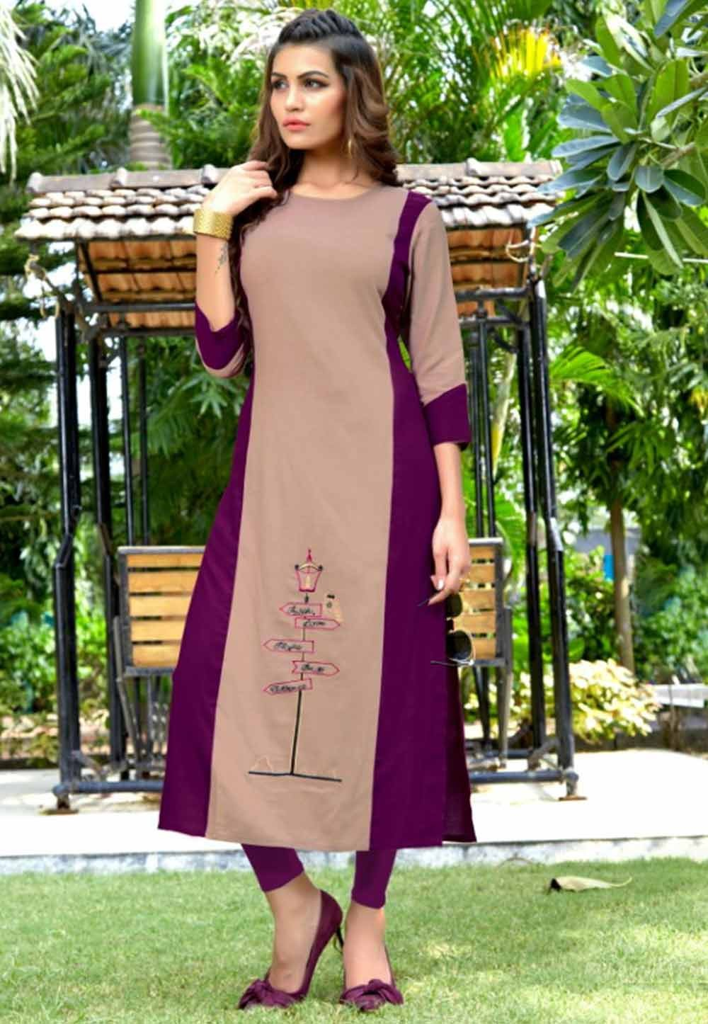 Multi Colour Cotton Heavy embroidered kurtis online