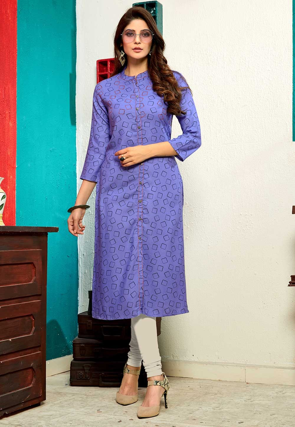 Exclusive Blue Colour Casual Indian kurti tops online
