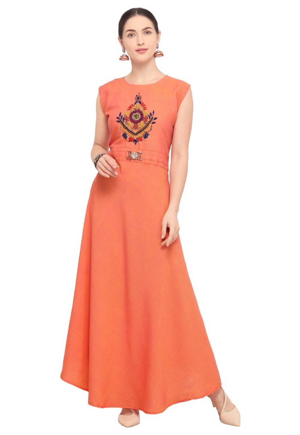 Orange Colour Stylish kurti online