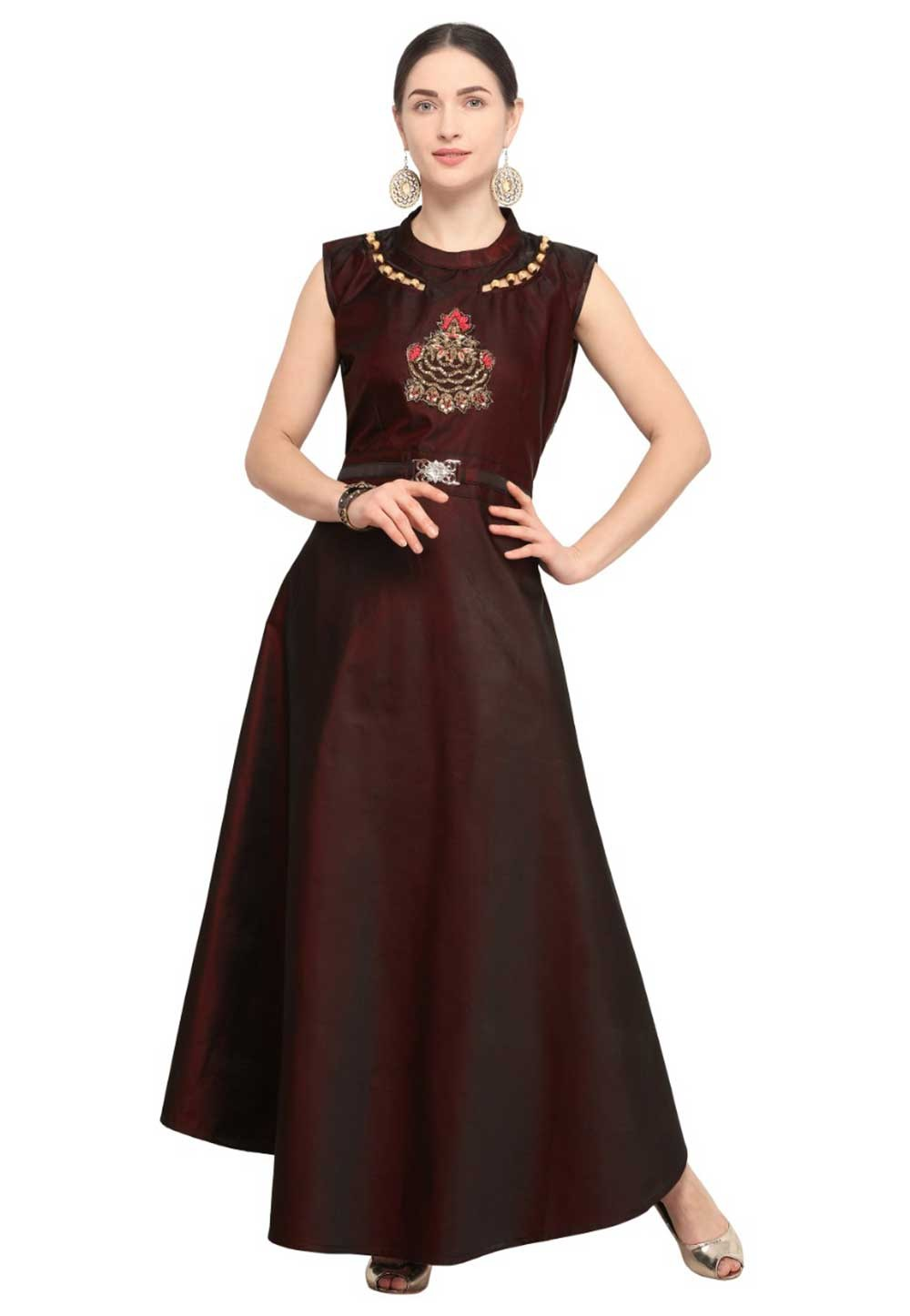 Buy indian kurtis party wear in wine colour