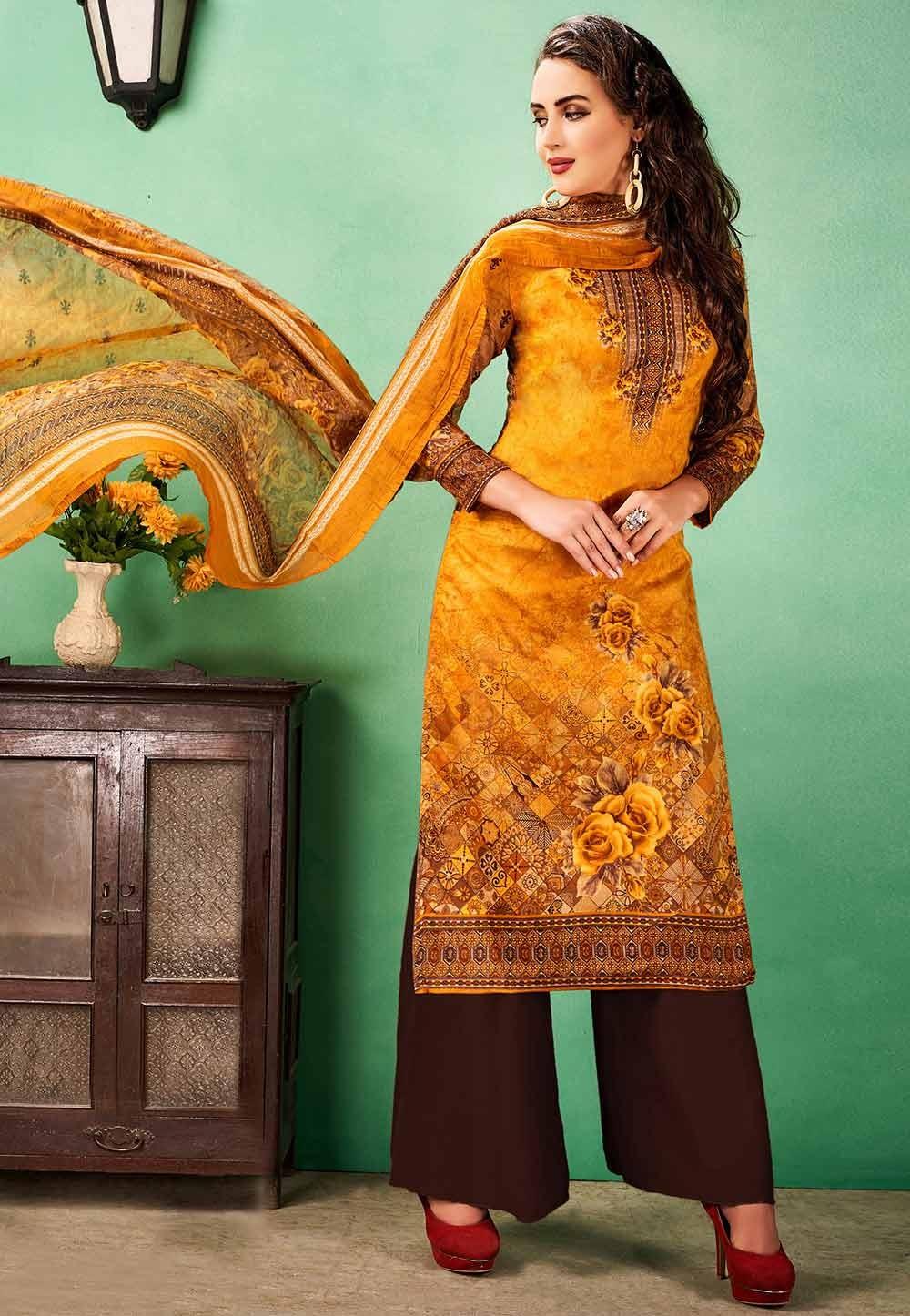 Orange Colour Cotton Printed Salwar Kameez