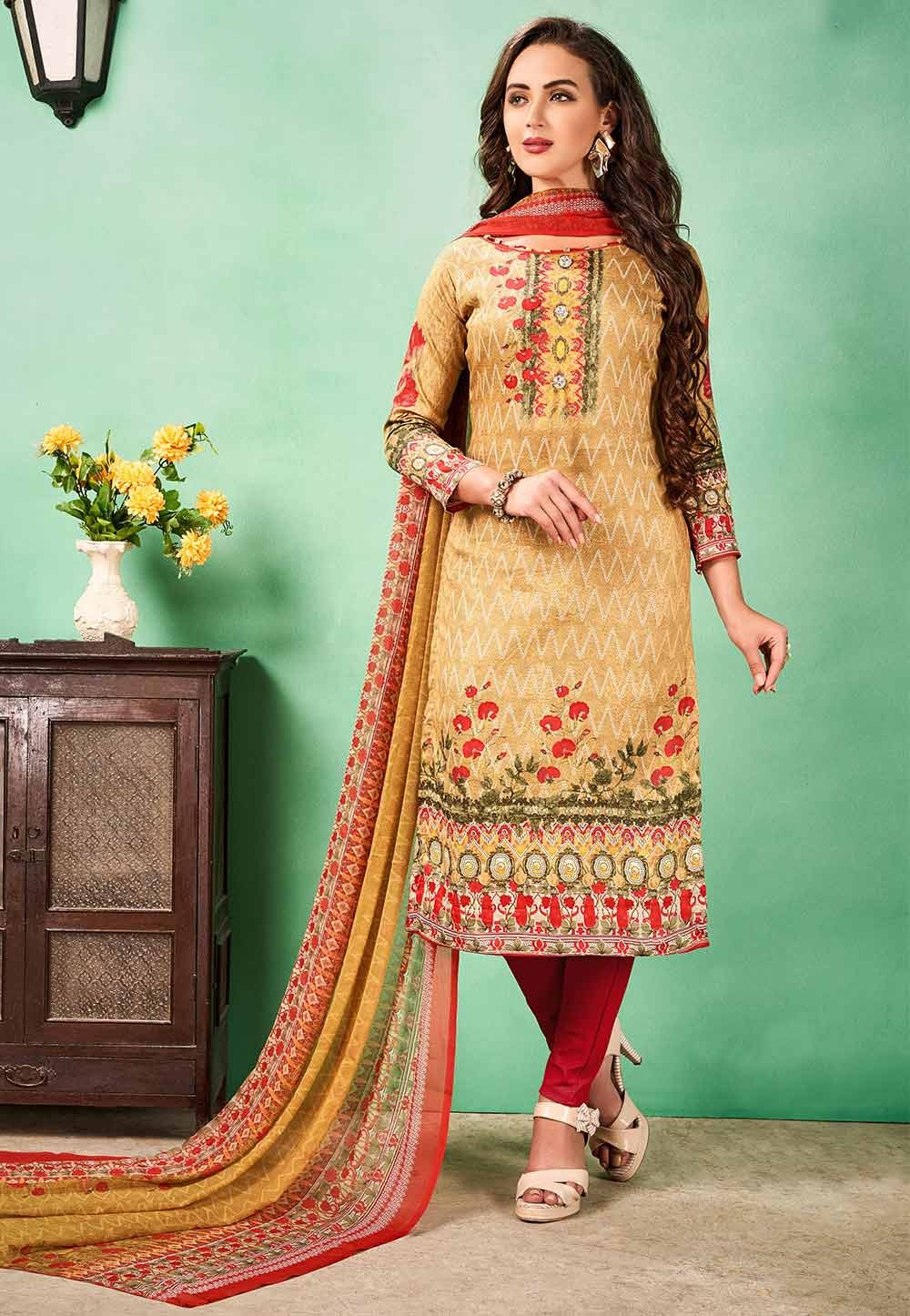 Buy Beige Colour Printed Salwar Kameez
