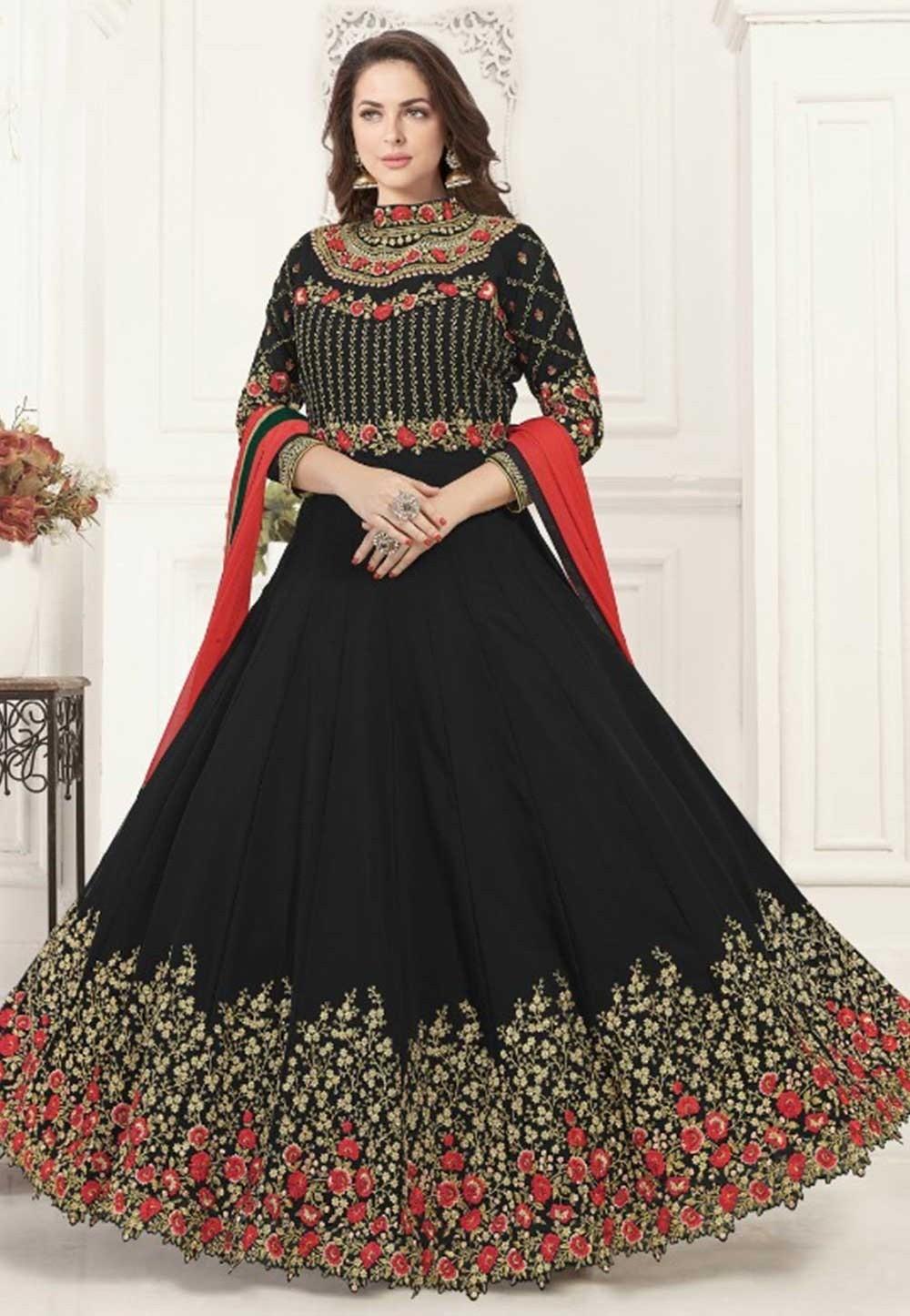 Buy Black colour party wear Indian salwar kameez