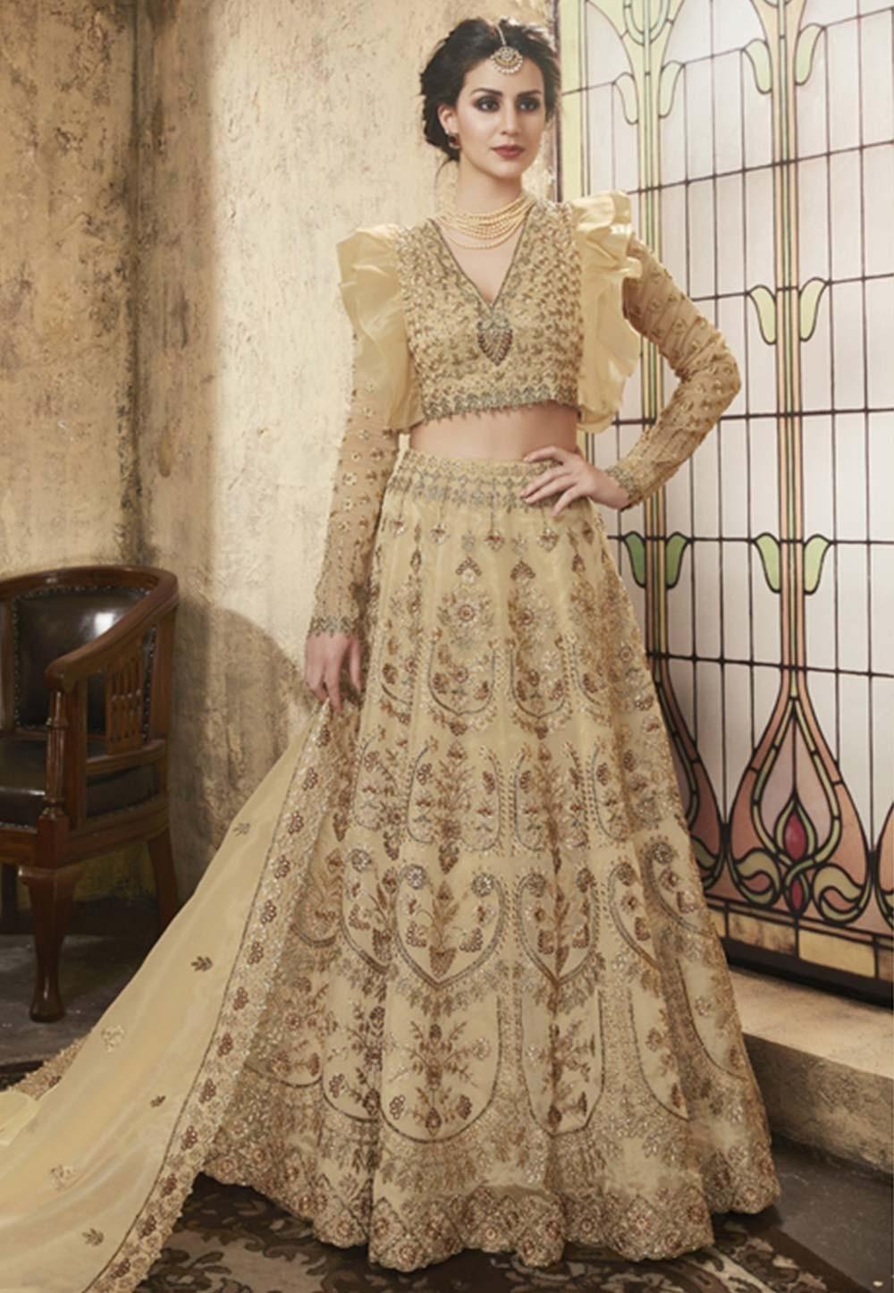 Designer Lehenga choli online in beige colour online