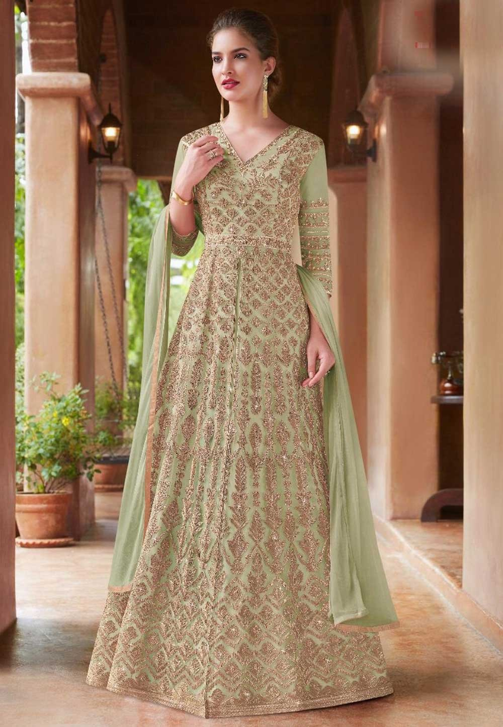 Buy Anarkali Salwar Suit Online with Green Colour