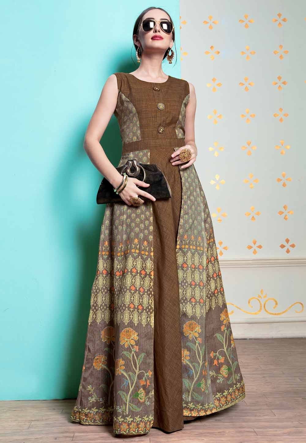 Brown Colour Stylish Designer Kurti.