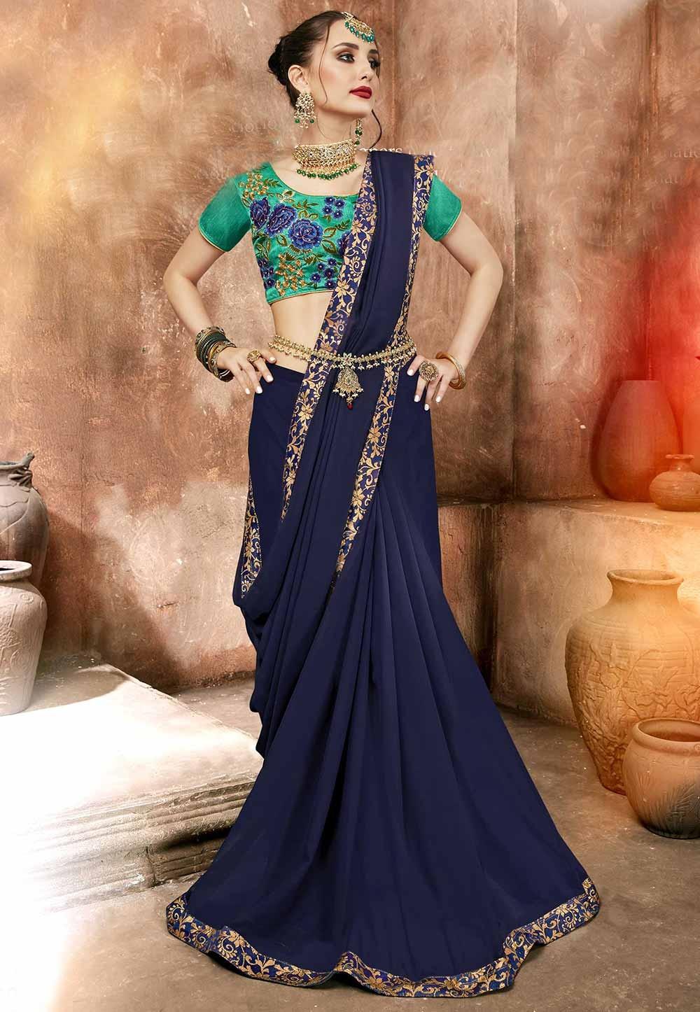 Blue Colour Designer Sari.