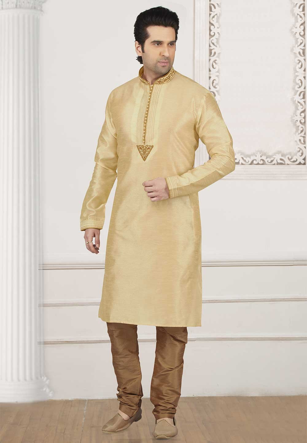 Golden Colour Designer Kurta Pajama.