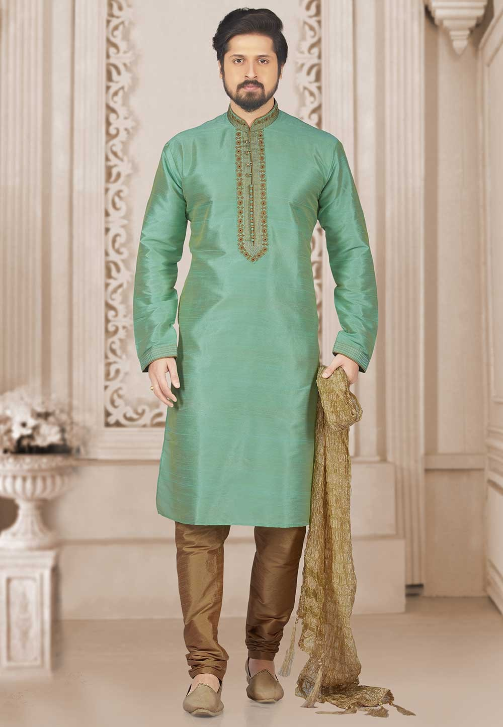 Green Colour Banarasi Silk Kurta Pajama.