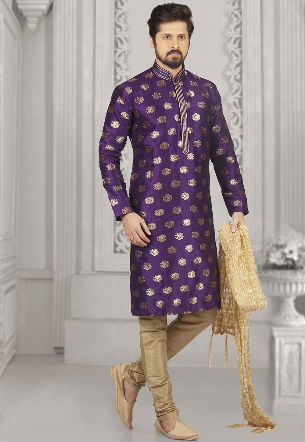 Purple Colour Readymade Kurta Pajama.