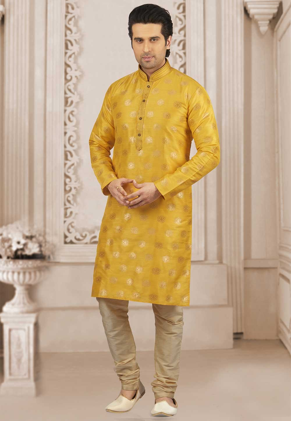 Yellow Colour Designer Kurta Pyjama.