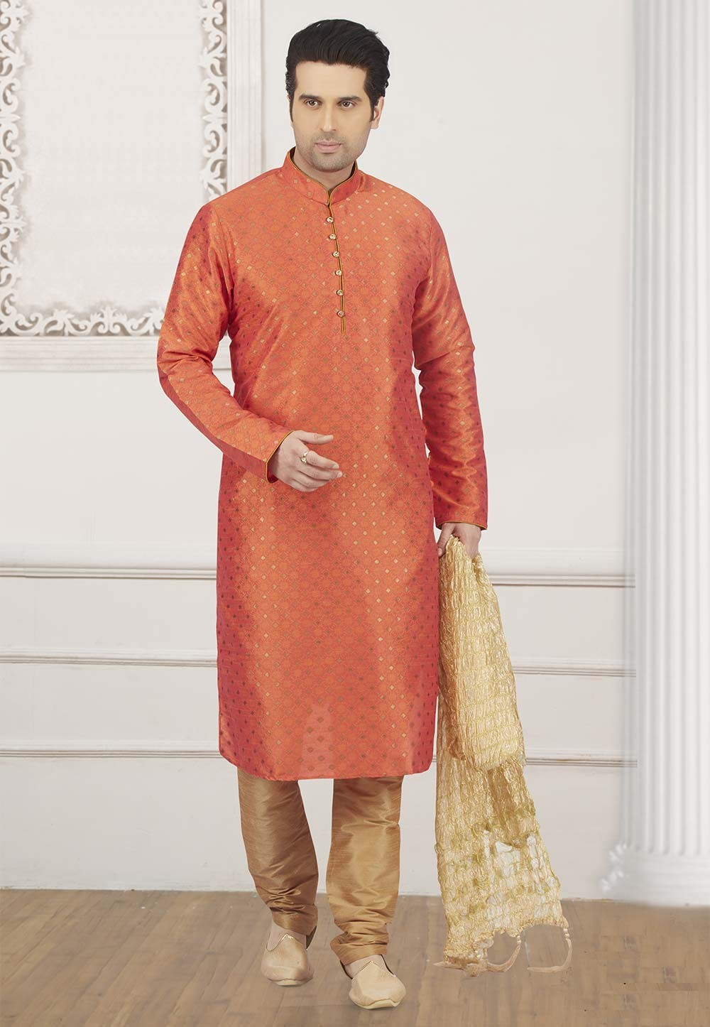 Orange Colour Brocade Silk Kurta Pajama.