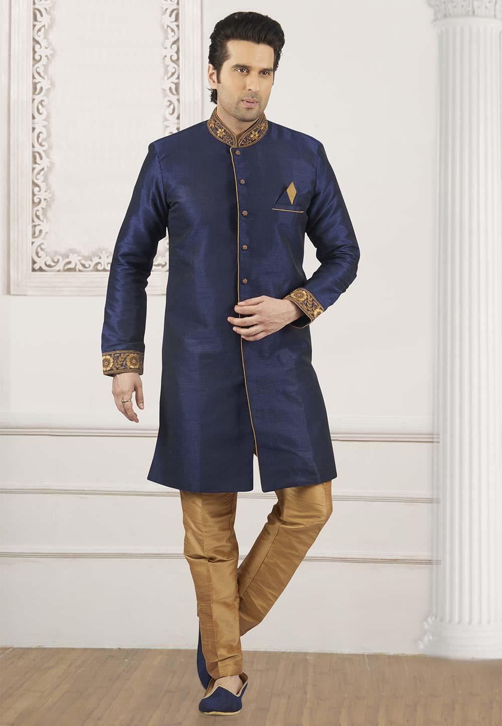 Blue Colour Banarasi Silk Kurta Pajama