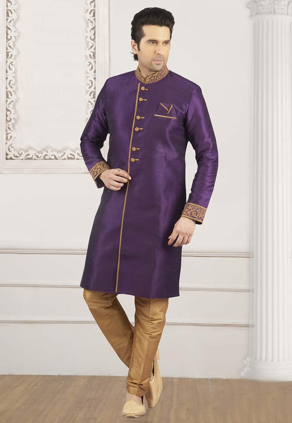 Purple Colour Kurta Pajama.