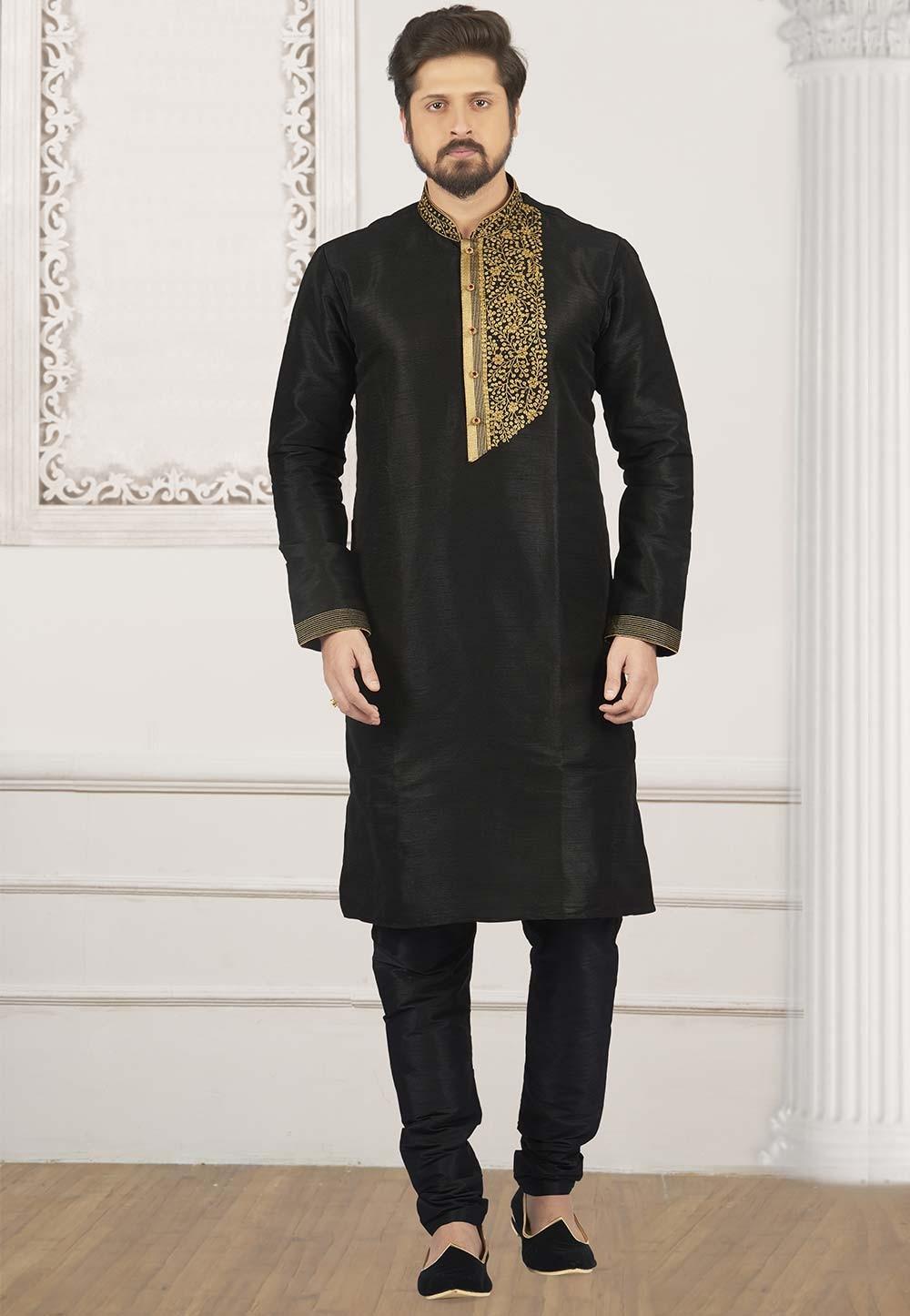 Black Colour Party Wear Kurta Pajama.