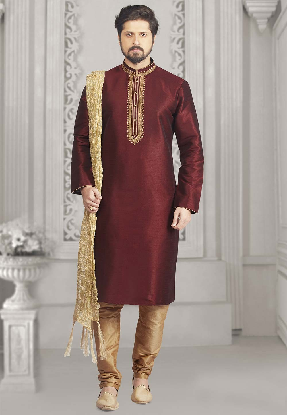 Wine Colour Party Wear Kurta.