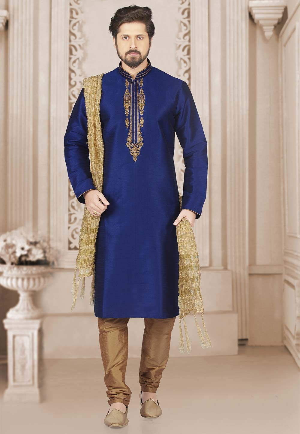 Blue Colour Banarasi Silk Kurta Pajama.