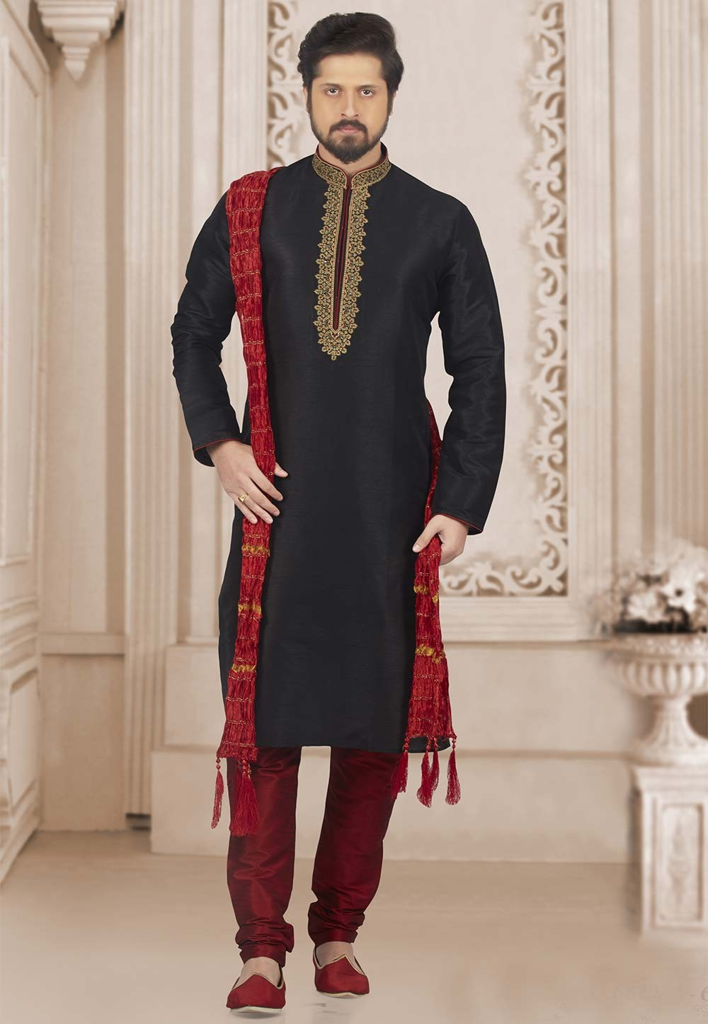 Black Colour Party Wear Kurta.