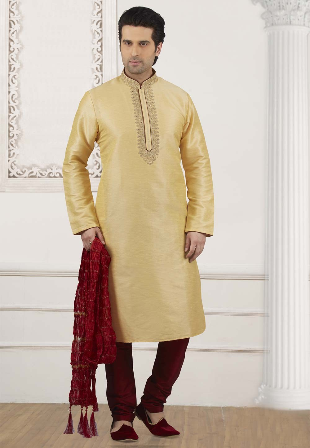 Golden Colour Indian Designer Kurta Pajama.