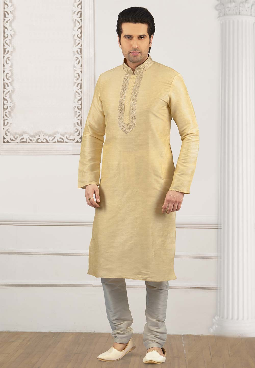 Beige Colour Kurta Pajama.