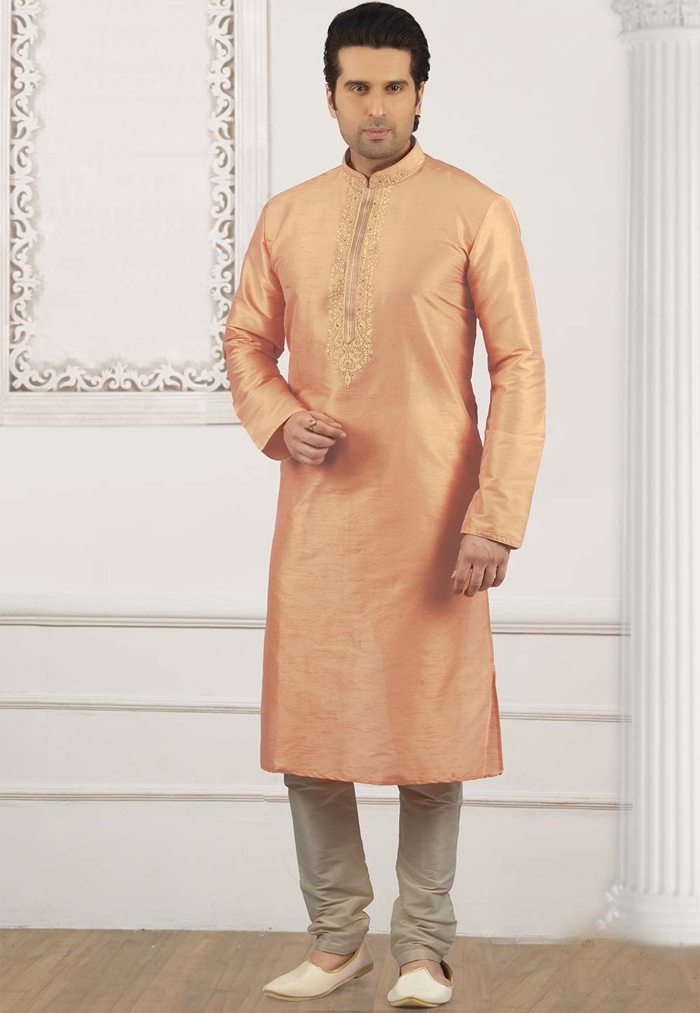 Peach Colour Kurta Pajama.
