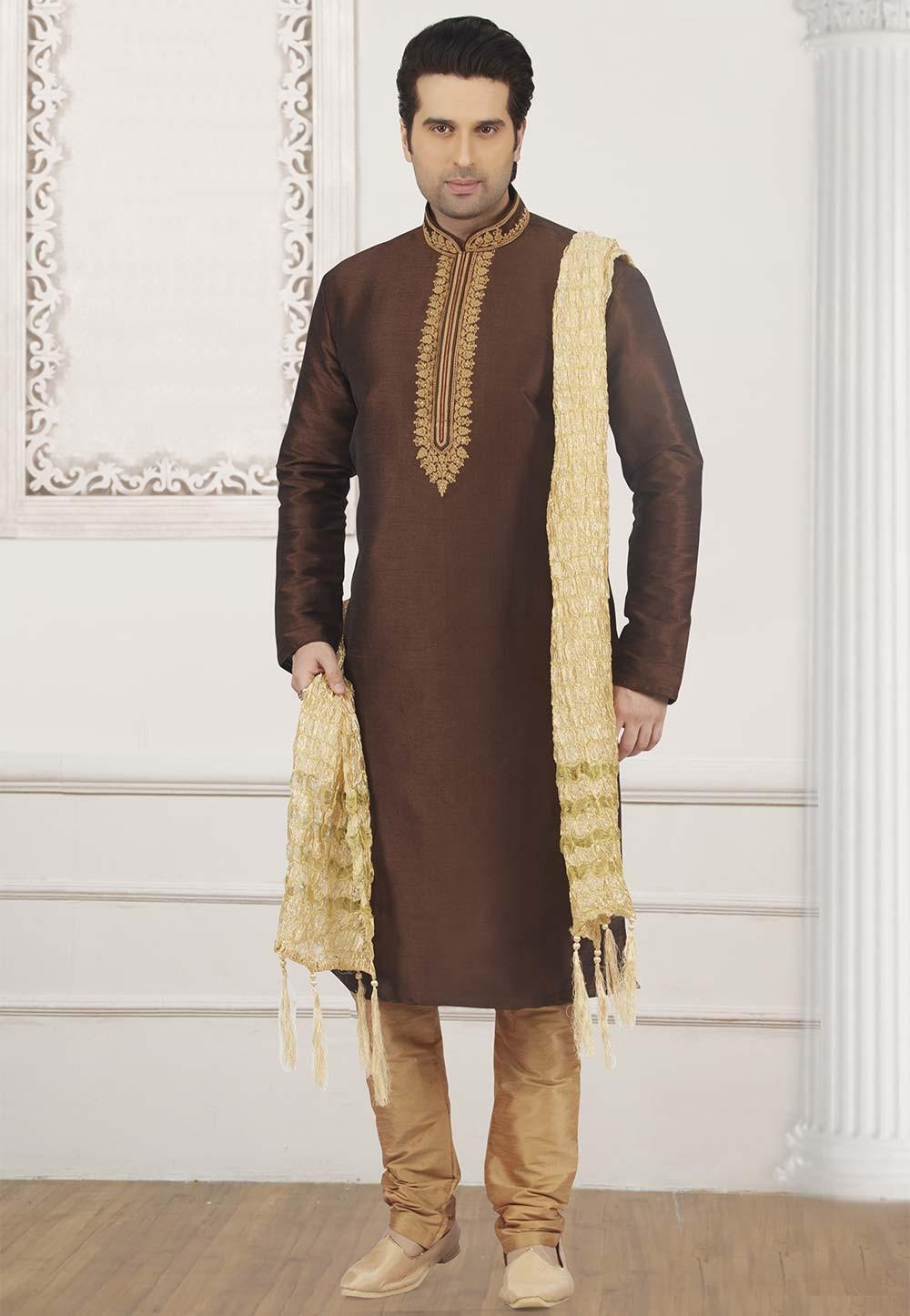 Brown Colour Party Wear Kurta Pajama.