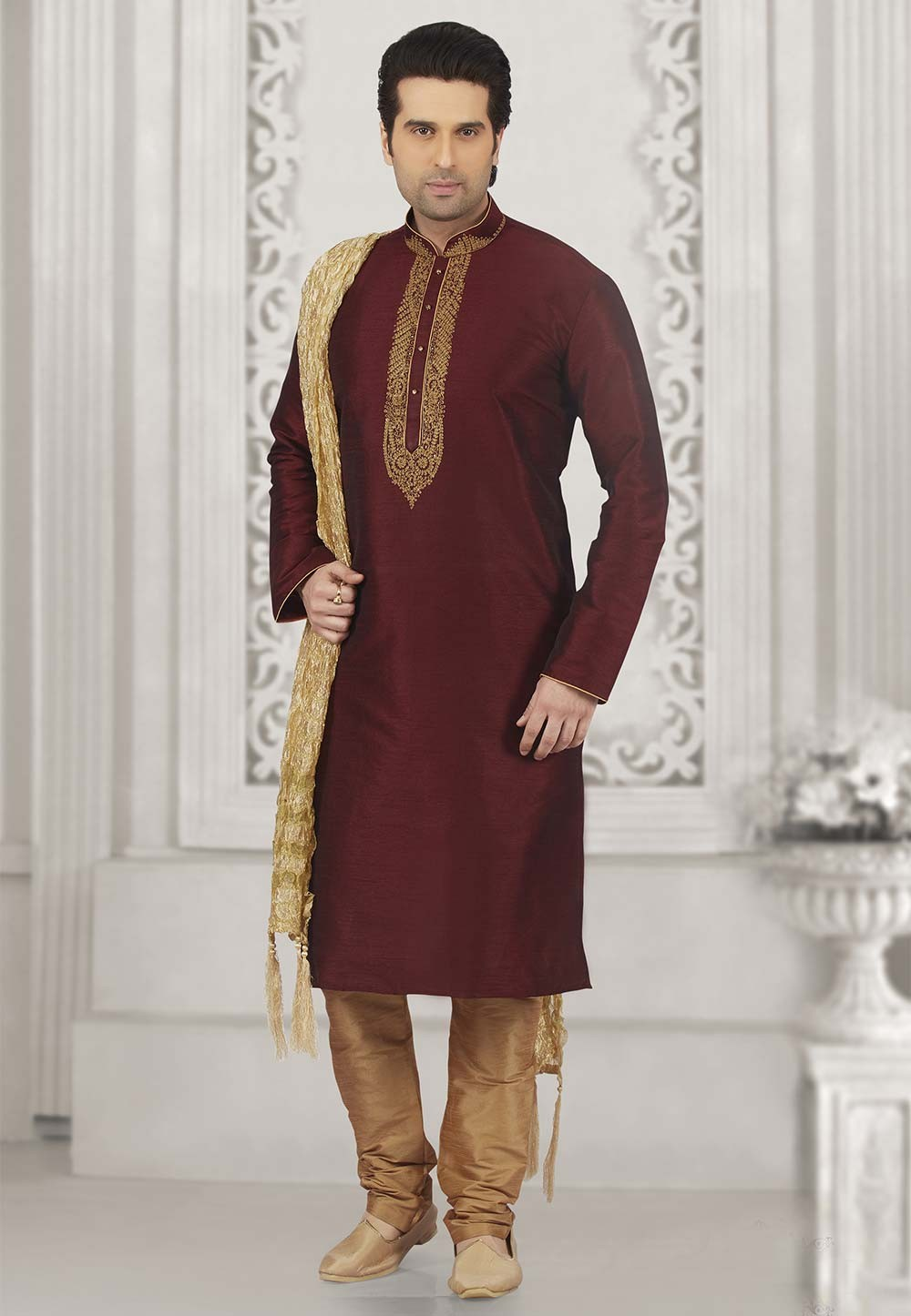 Wine Colour Indian Kurta Pajama.
