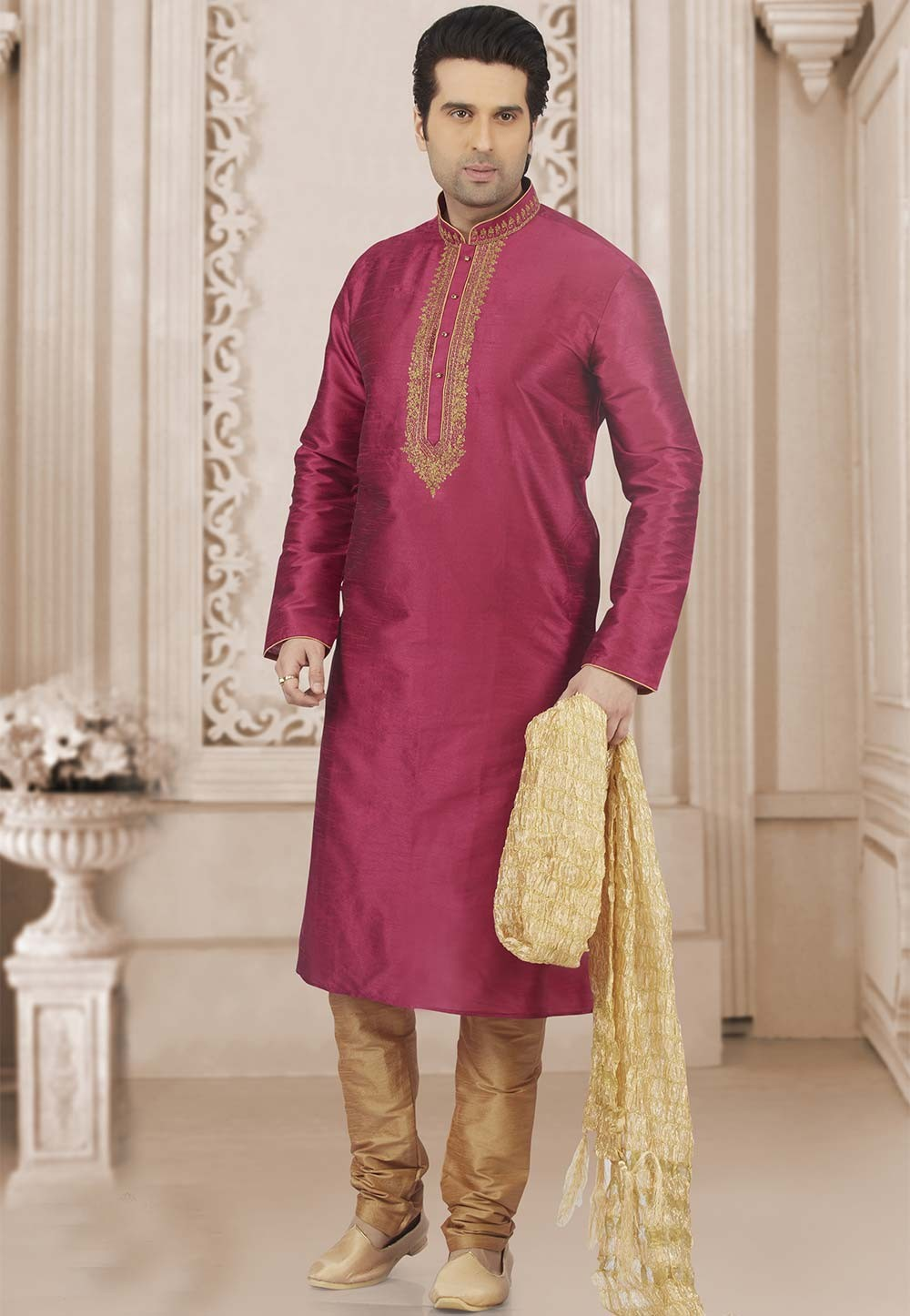 Pink Colour Party Wear Kurta Pajama.