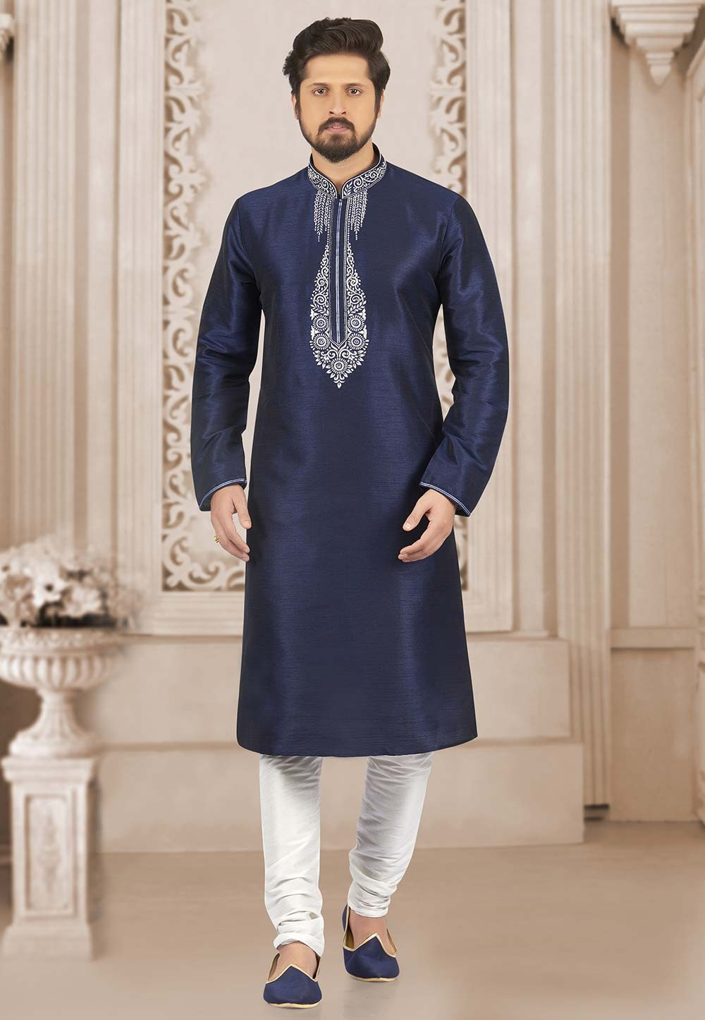 Blue Colour Readymade Kurta Pajama.
