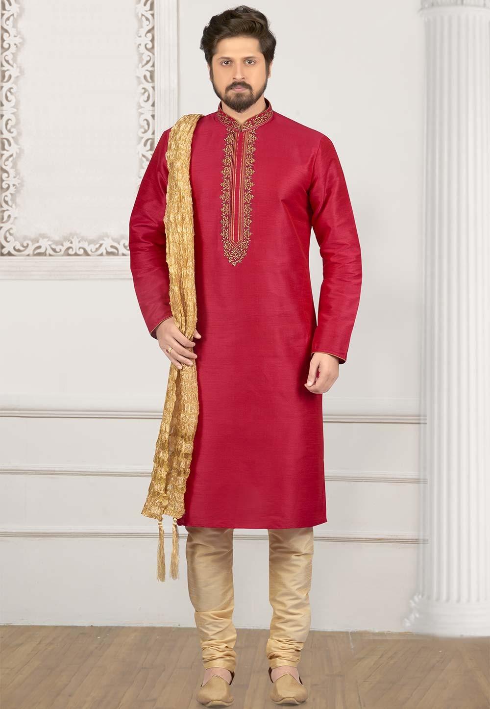 Pink Colour Indian Designer Kurta Pajama.