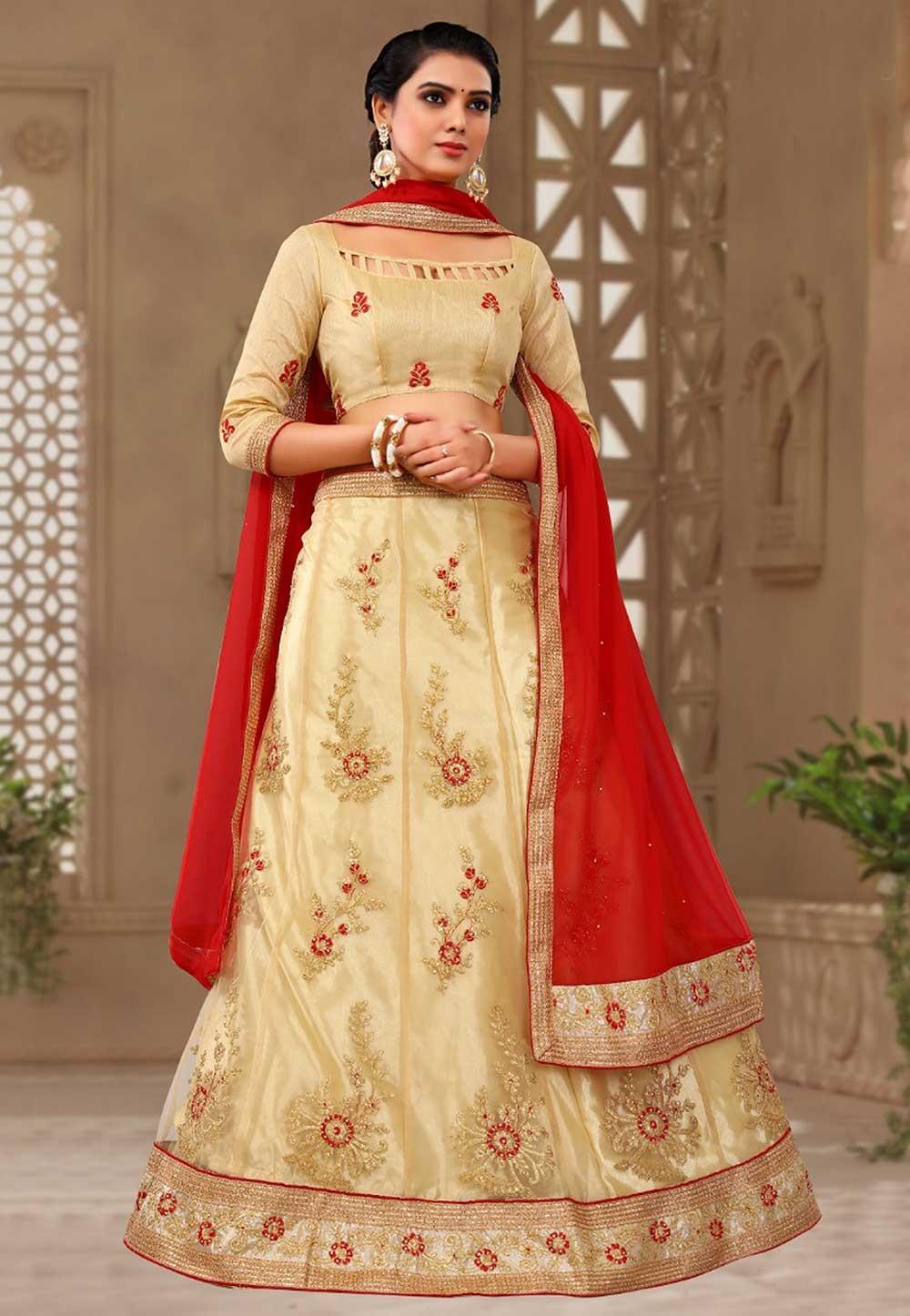 Buy Beige Colour Lehenga choli for bridesmaid