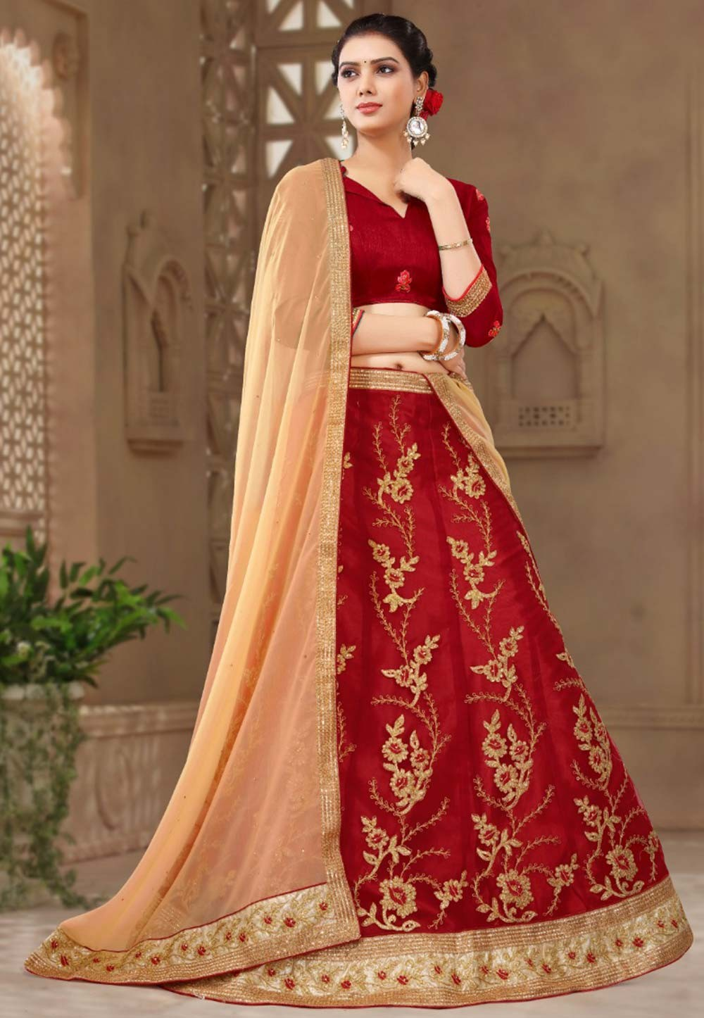 Maroon Colour Lehenga choli for bridesmaid
